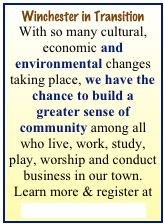 Winchester in Transition With so many cultural, economic and environmental changes taking place, we have the chance to build a greater sense of community among all who live, work, study, play, worship and conduct business in our town. Learn more & register at Winchester In Transition