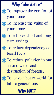 Why Take Action? To improve the comfort of your home  To increase the value of your home To achieve short and long term savings To reduce dependency on fossil fuels To reduce pollution in our air and water and destruction of forests. To leave a better world for future generations Why NOT?