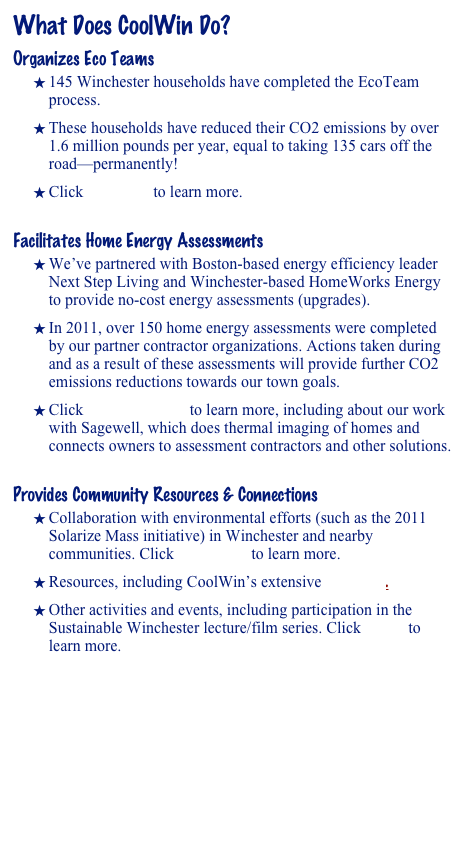 What Does CoolWin Do?